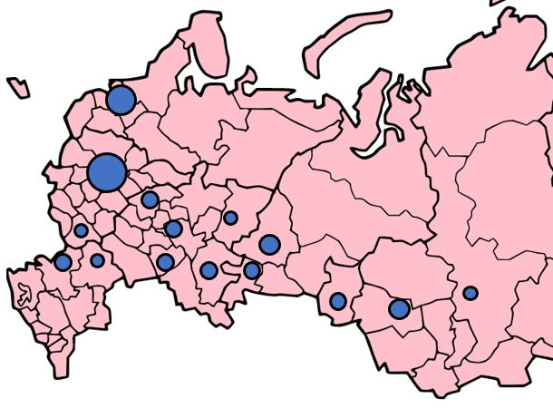 Venäjän suurimmat kaupungit kartalla