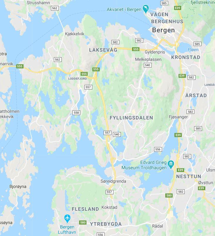 Bergenin lentokenttä kartta