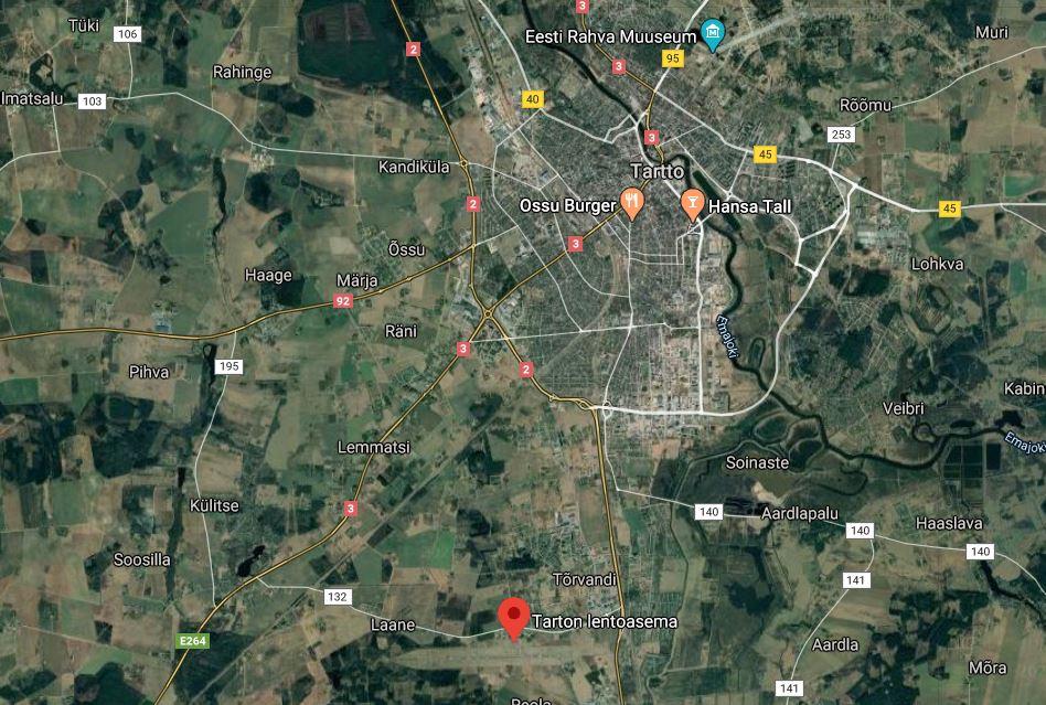 Tarton lentokenttä kartta