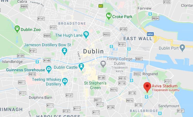 Aviva stadium Dublin kartta