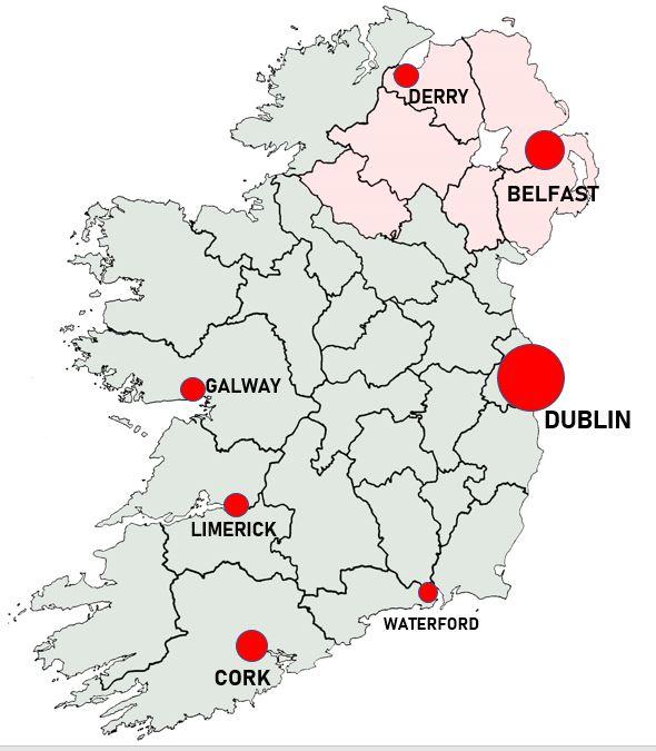 Irlanti ja Pohjois-Irlantti kaupungit kartta