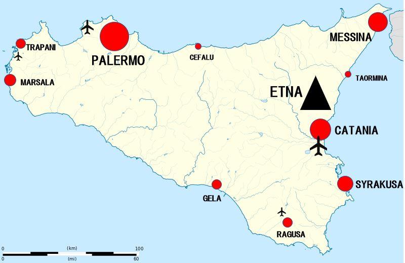 Sisilia kartta kaupungit