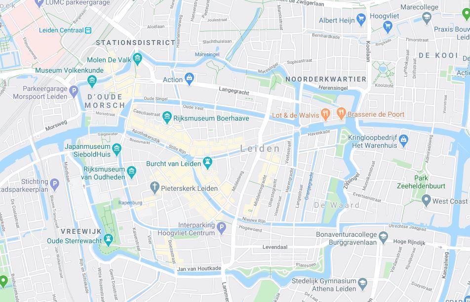 Leiden keskusta kartta