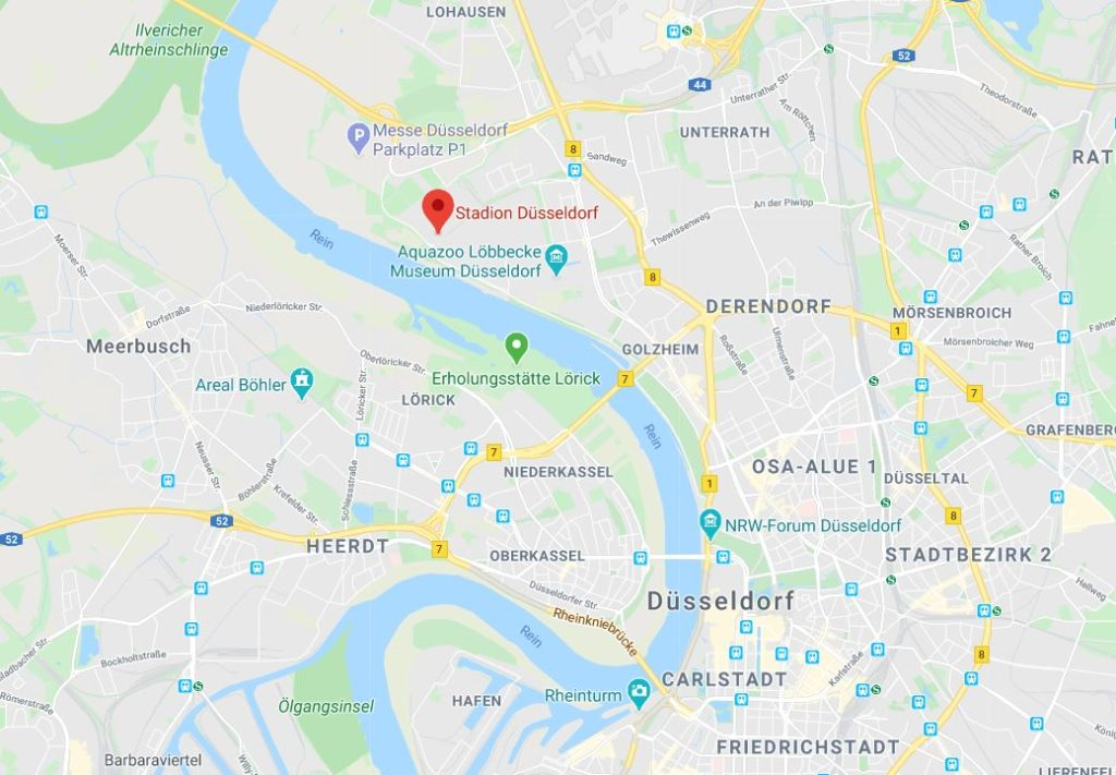 Stadion Düsseldorf kartta