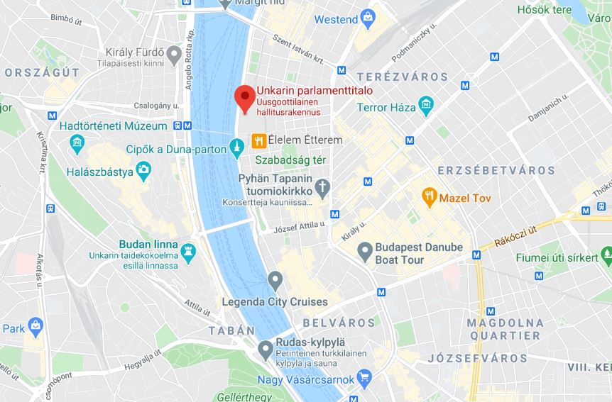 Unkarin parlamenttitalo Budapest kartta