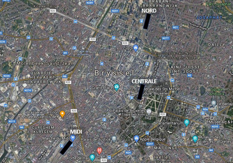 Bryssel juna-asemat kartta