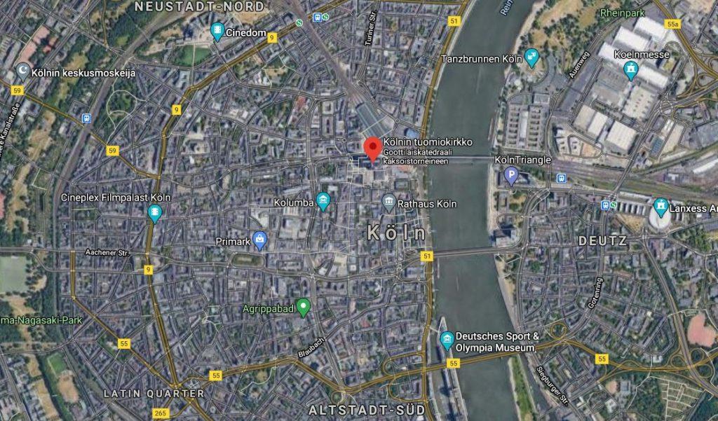 Köln Tuomiokirkko kartta