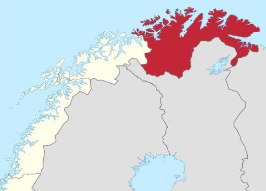 Norjan Lappi Finnmark kartta