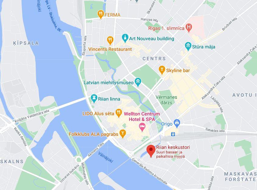 Riian keskustori kartta