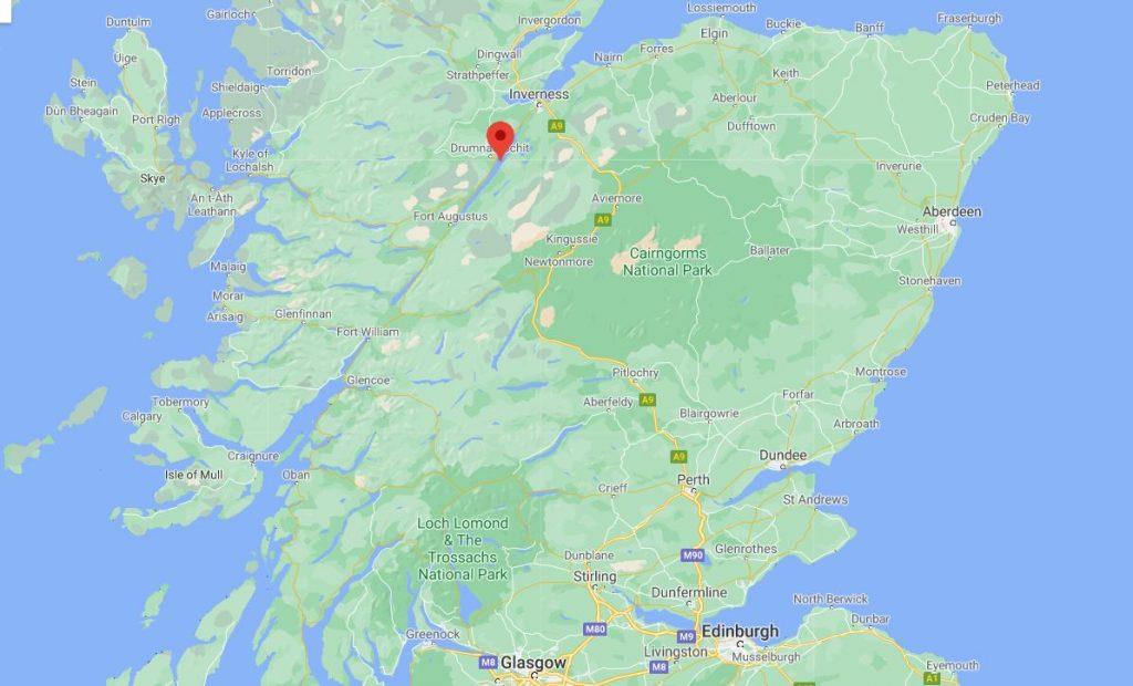 Loch Ness kartta Skotlanti