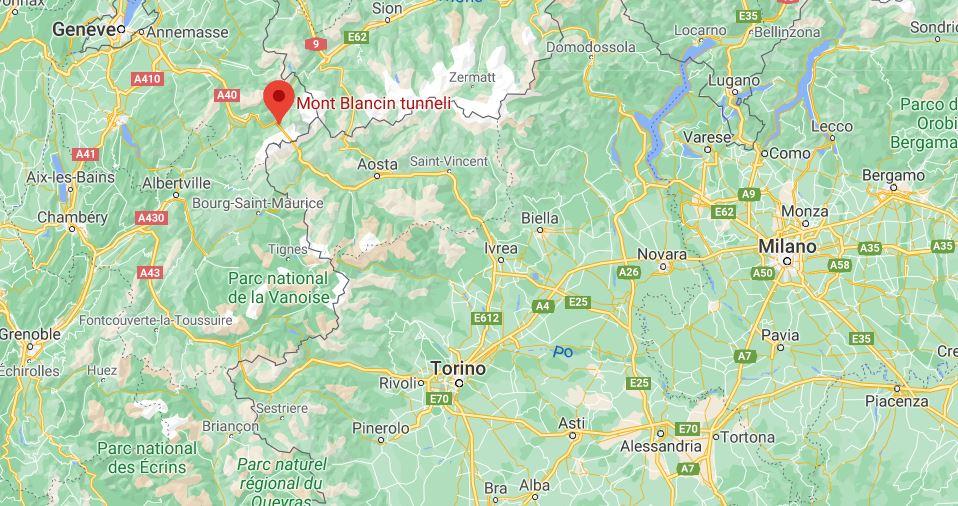 Mont Blanc tunneli kartta