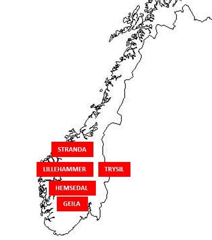 Norjan hiihtokeskukset kartta
