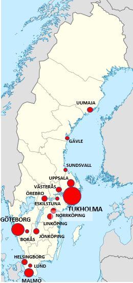 Ruotsin kaupungit kartta
