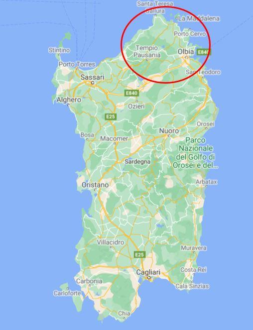 Sardinia kartta smaragdirannikko