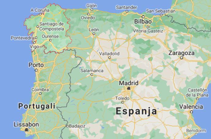 Galicia Espanja kartta