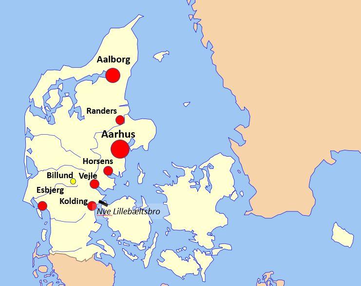 Kartta Jyllanti Tanska