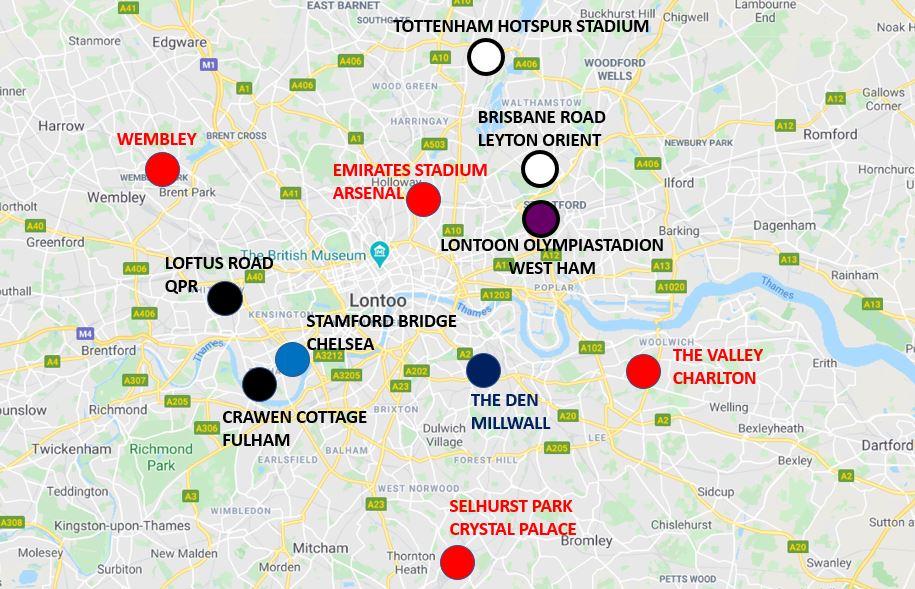 Lontoon jalkapallostadionit kartta