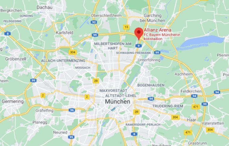 Allianz Arena kartta München