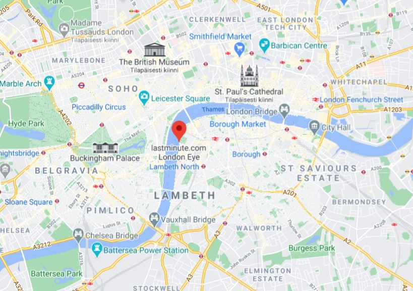 London Eye Lontoo keskusta kartta
