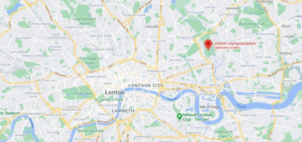 Lontoon olympiastadion kartta