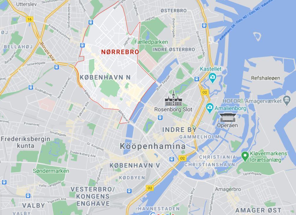 Nörrebro kartta Kööpenhamina