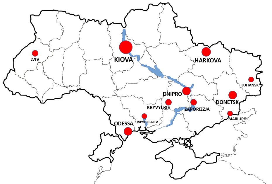 Ukraina kaupungit kartta