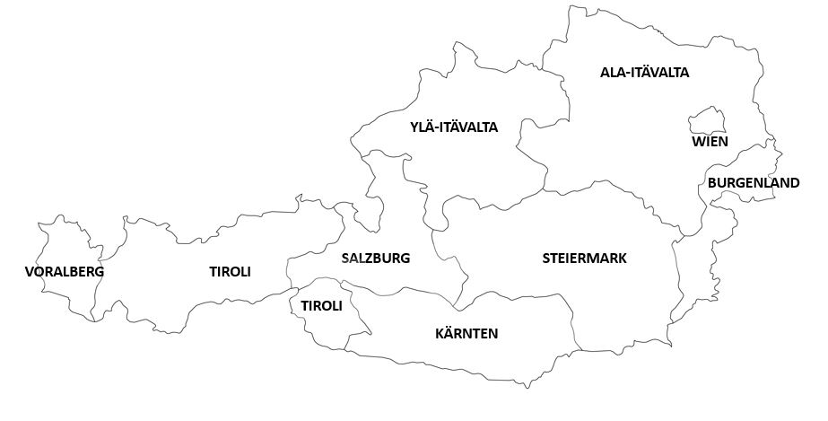 Itävallan osavaltiot kartta