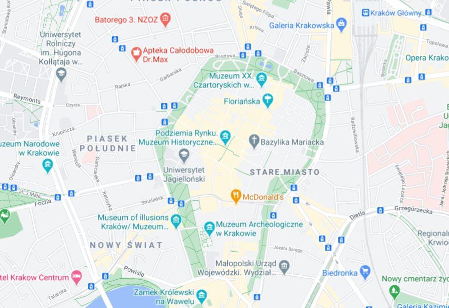 Krakova vanha kaupunki kartta