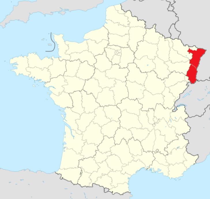 Kartta Alsace Ranska