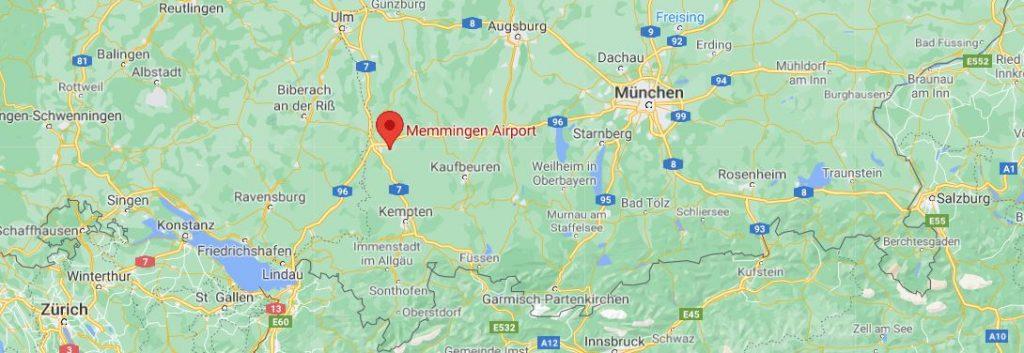 Memmingenin lentokenttä kartta