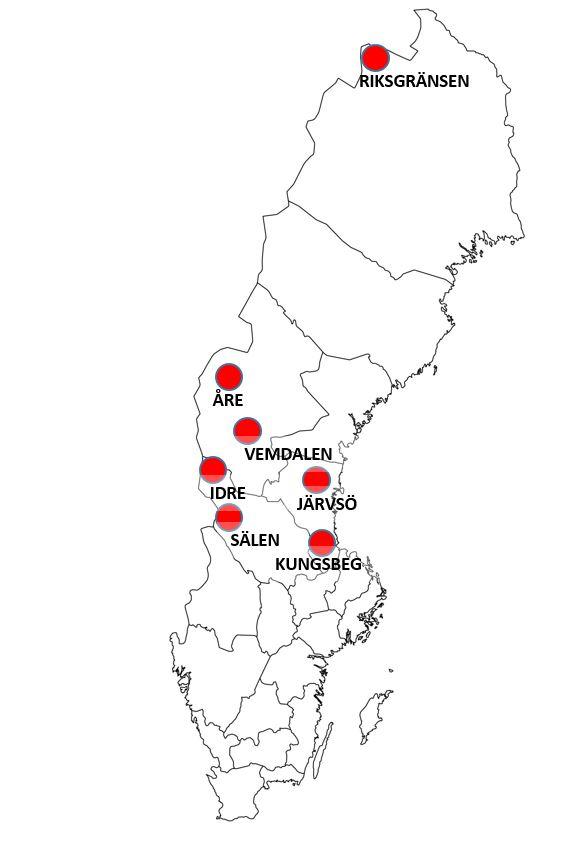 Ruotsin hiihtokeskukset kartalla