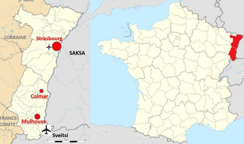 Alsace kartta viinitie